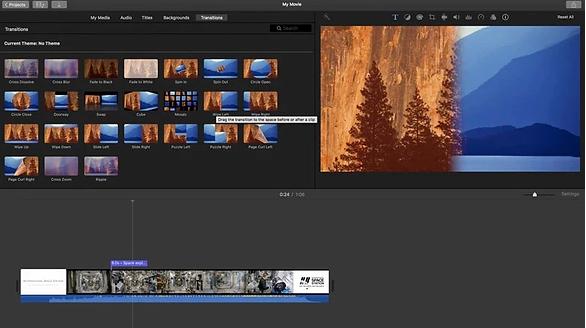 Interface des Videobearbeitungsprogramms von iMovie