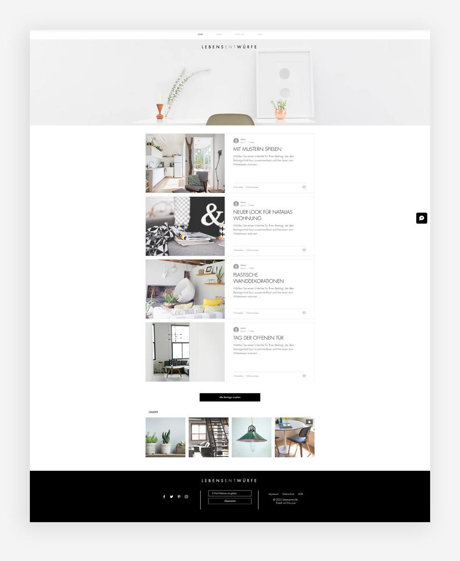 Blog Template von Wix für einen Stil & Design Blog