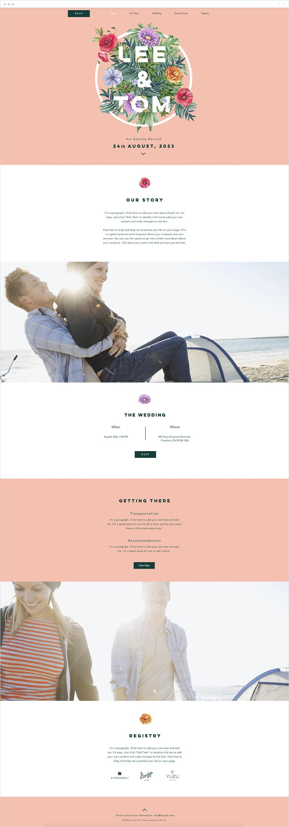 Plantilla web wix para invitación de boda estilo floral