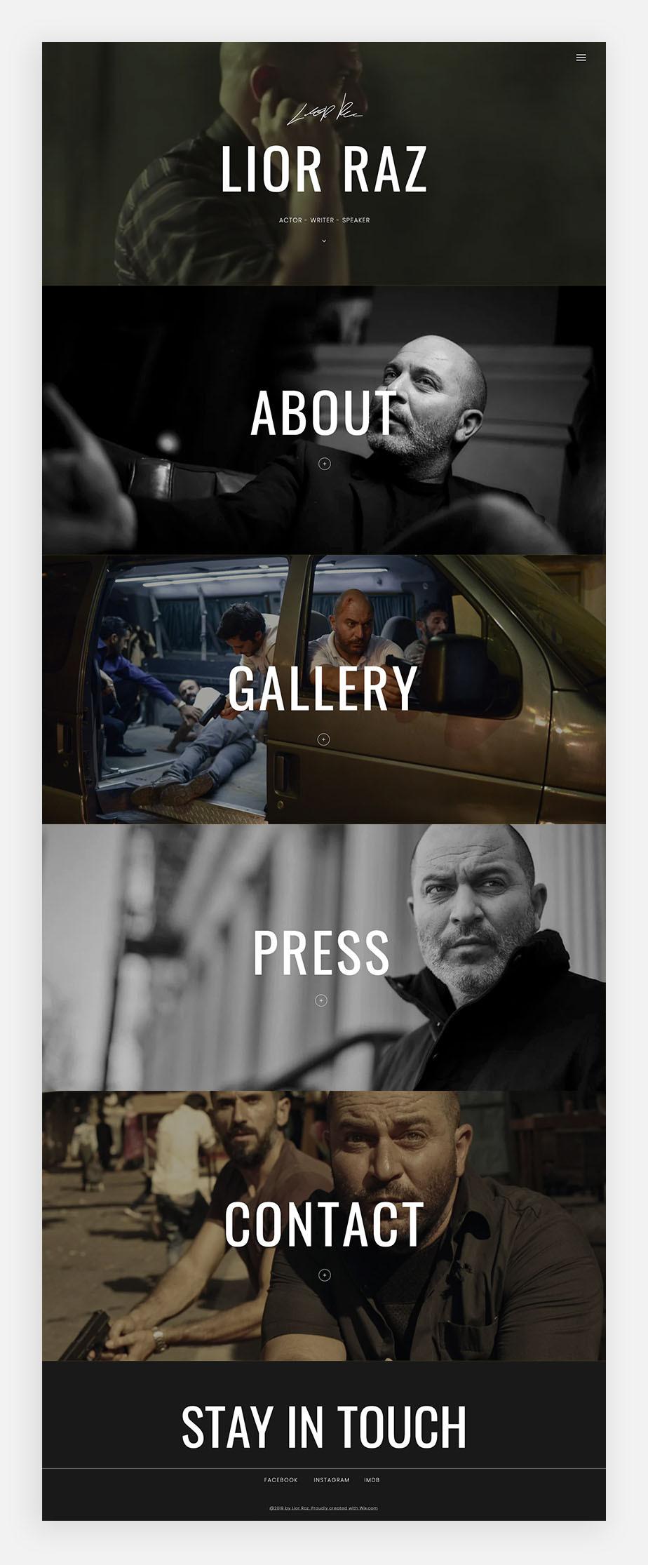 이스라엘 배우 리오 라즈의 원페이지 웹사이트 이미지