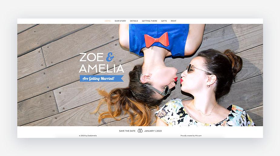 template di inviti matrimonio che mostra due donne che si baciano