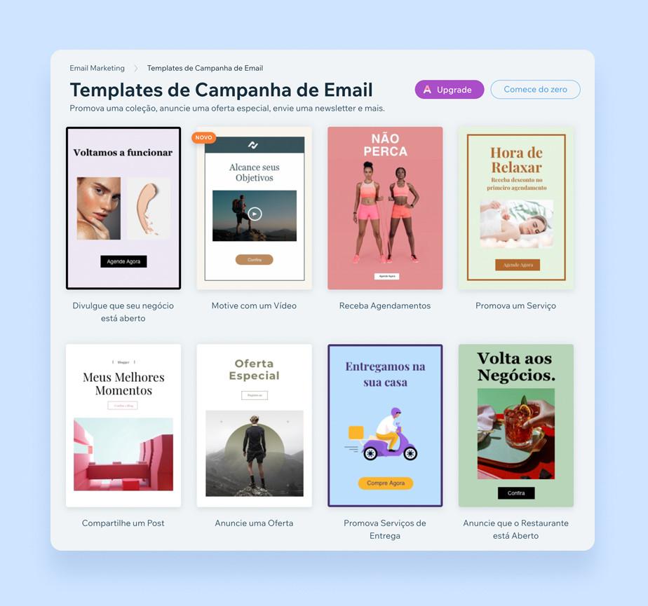 Templates de campanha de email marketing