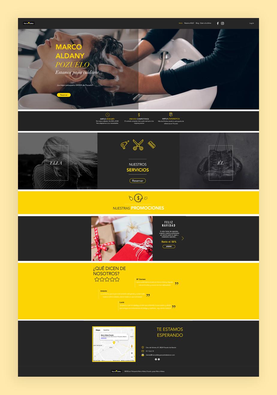 Página web de reservas de Marco Aldana Pozuelo