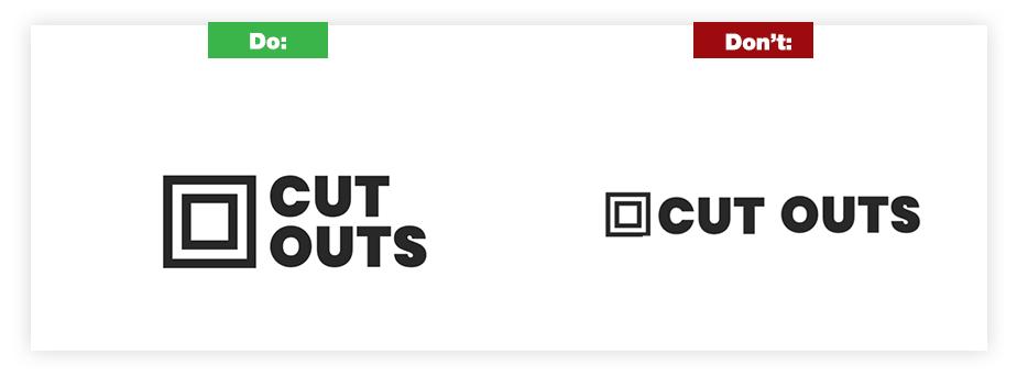 Ein Beispiel für ein gutes Logo und ein schlechtes Logo zum Thema Markenname