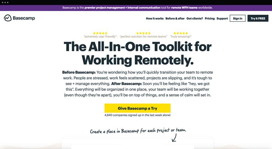 BaseCamp - narzędzie do pracy zdalnej