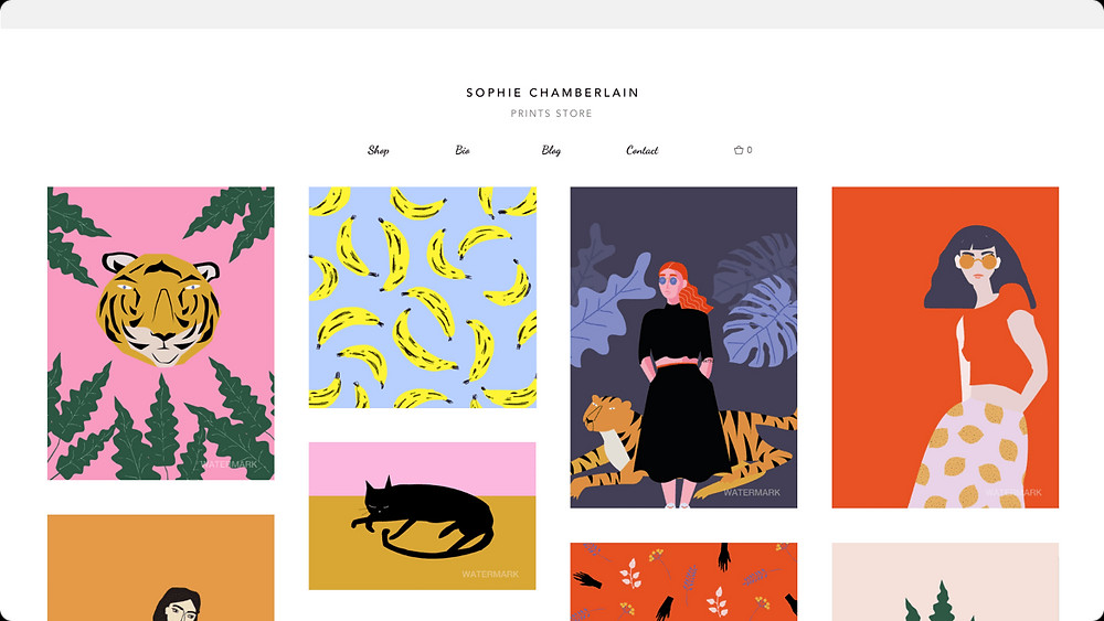 Online portfolio with gallery created with the Wix Art Store