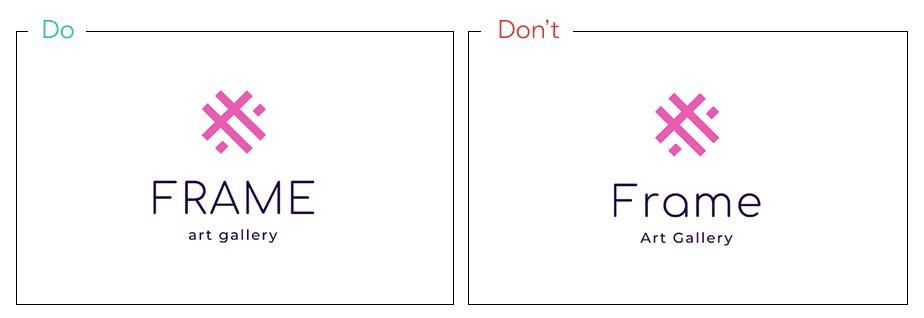 Logo von Frame als Beispiel für die Gestaltungsregel Groß- und Kleinbuchstaben