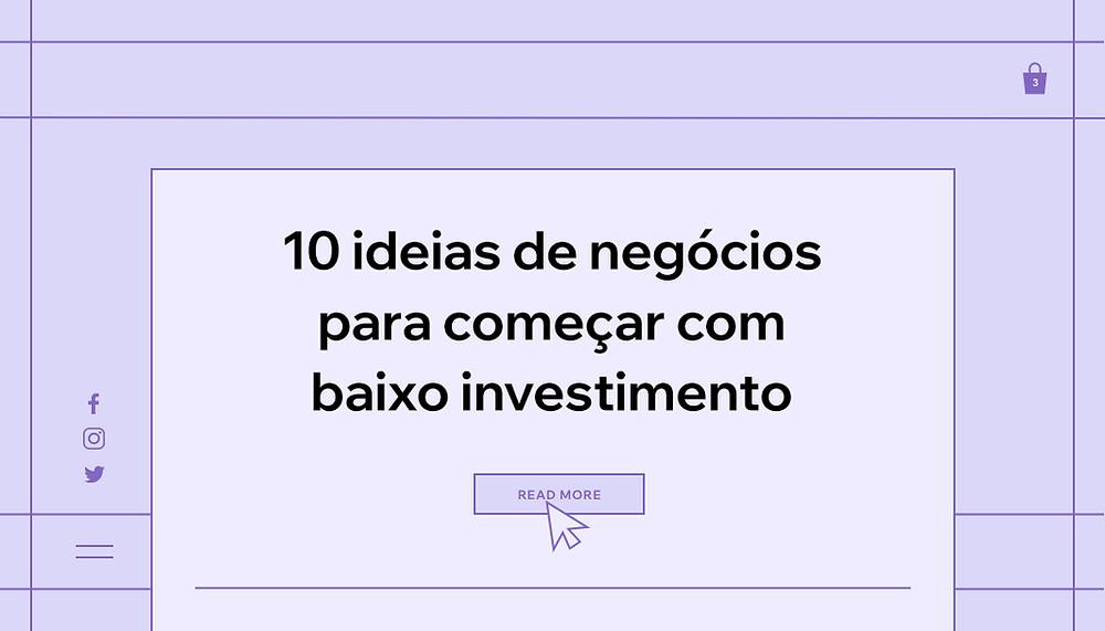"""Capa do artigo """"10 Ideias de Negócios Lucrativos e de Baixo Investimento Para Começar a Empreender"""""""