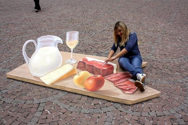 стрит-арт пикник на асфальте