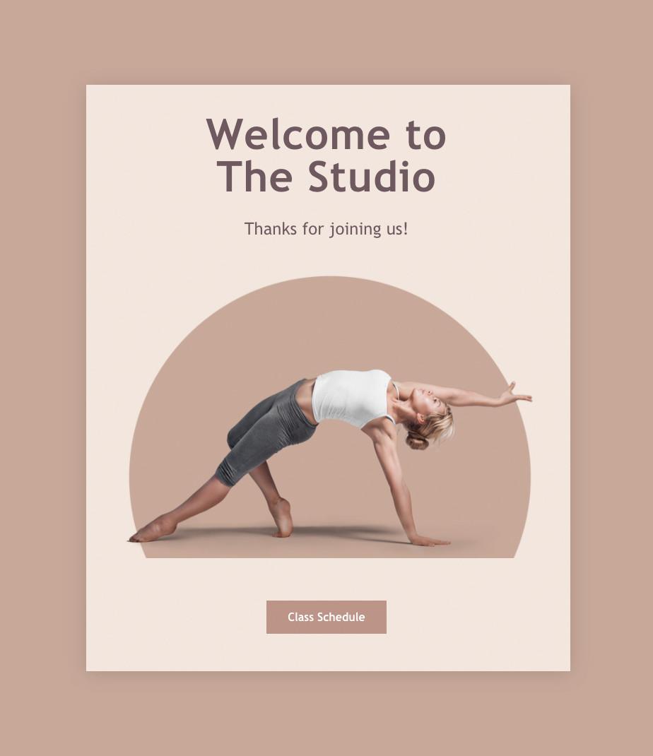Email de confirmación de una suscripción a un estudio de yoga