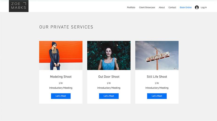 Bild verschiedener Optionen für Fotografen mit Wix Bookings