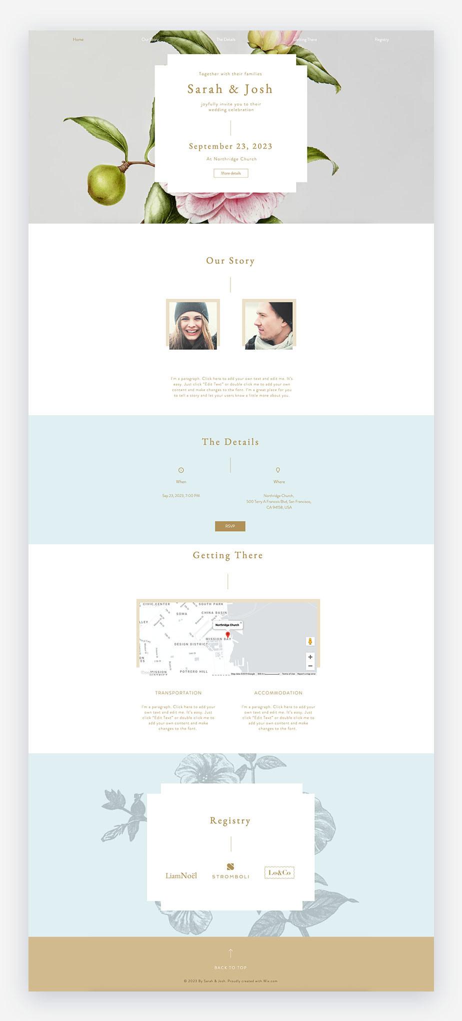 template di inviti matrimonio con sito romantico