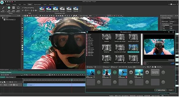 Interface des Videobearbeitungsprogramms von VSDC Free Video Editor