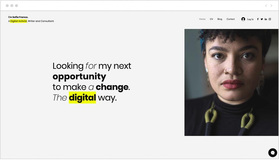 Vorlage einer Digital-Marketing-Website als Beispiel für Website-Ideen