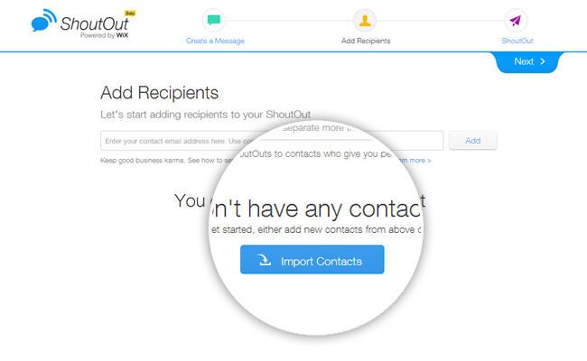 Добавление контактных адресов.