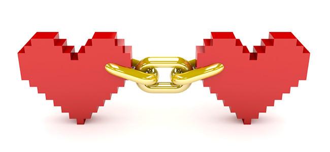 Dos corazones unidos por una cadena