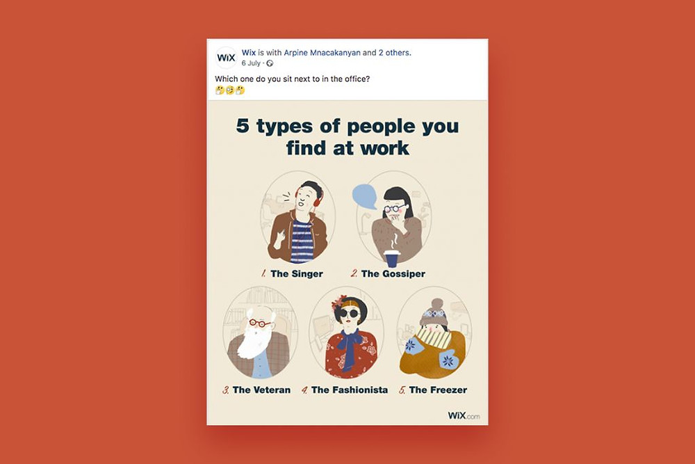5 types of people you find at work Facebook post