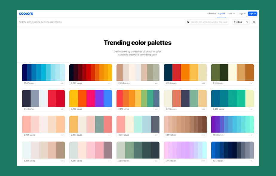 Free color palette generator by Coolors