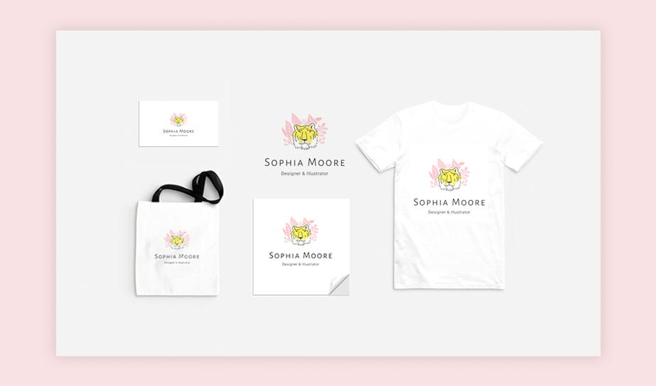 """Exemplo de aplicação de logo da marca fictícia """"Sophia Moore"""" em cartão de visitas, camiseta, eco bag, adesivo e visualização digital"""