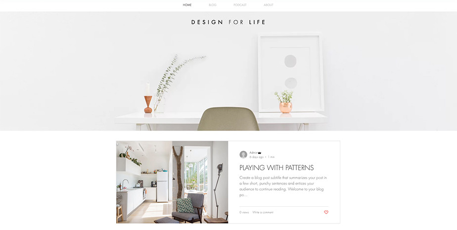 Style and design blog template