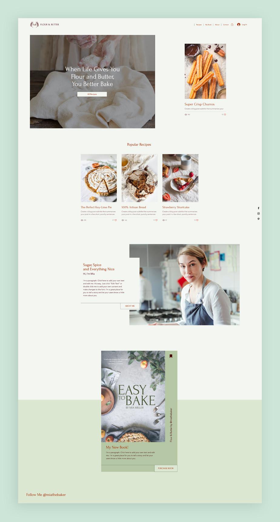 베이킹 블로그 템플릿에 보여지는 츄로스 및 아름다운 디자인의 제과 제빵 이미지