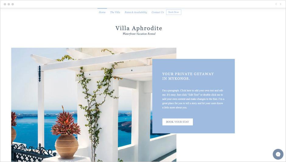Tropical villa rental template
