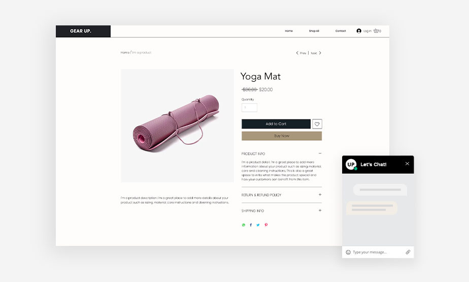 라이브 채팅을 통해 고객과 즉각적인 소통으로 온라인 쇼핑몰의 요가 매트를 판매하는 이미지