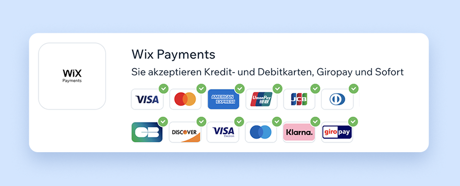 Zahlungsmethoden mit Wix Payments