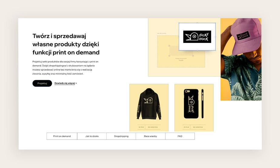 Twórz i sprzedawaj produkty dzięki funkcji print on demand