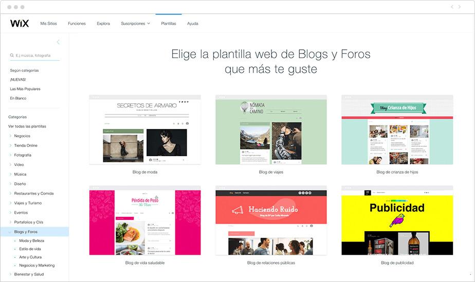 Ejemplos de plantillas de Wix para crear un blog