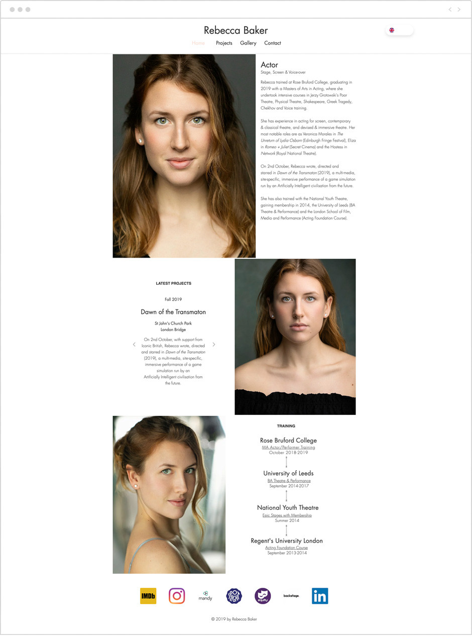 Actor website by Rebecca Baker
