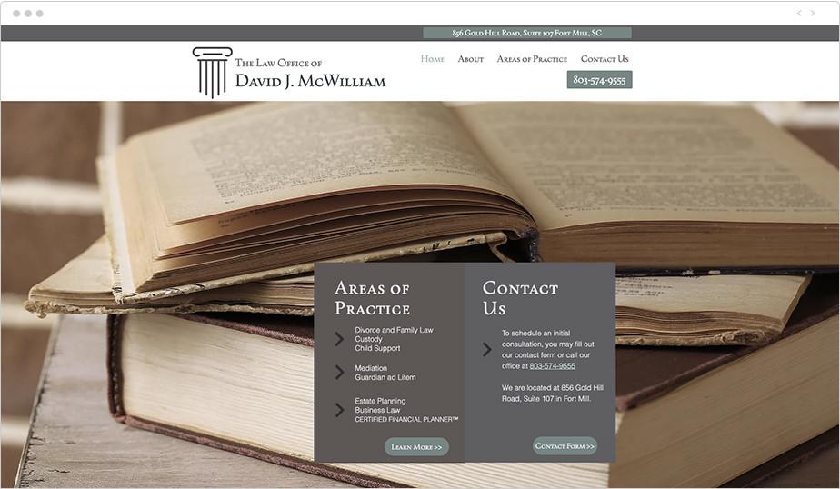 Best law firm websites David J McWilliam