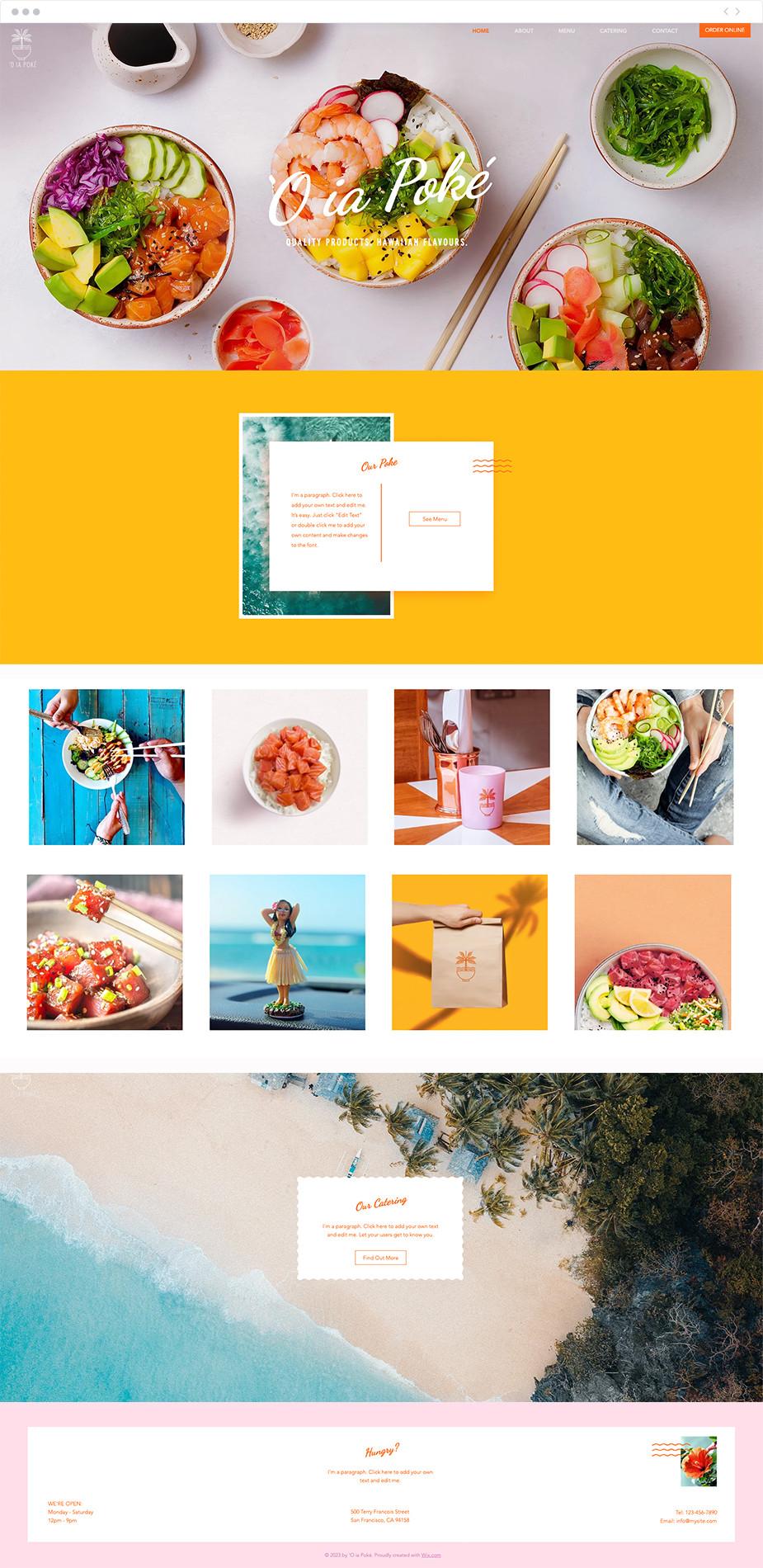Template sito web per ristorante Poke