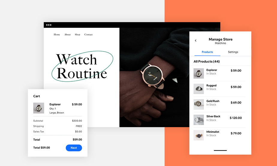 Ansicht der Online-Shop-Funktionen in der Wix Owner App