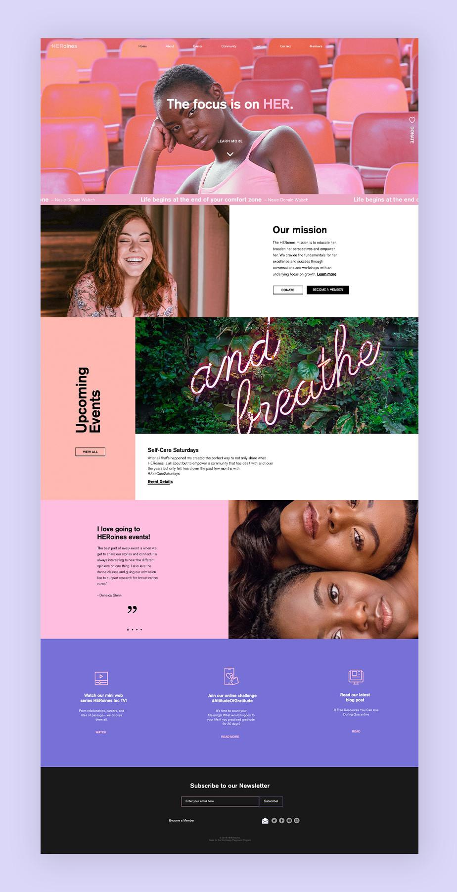 Exemplo de site que utiliza o Wix Bookings: site da organização feminista HERoines Inc