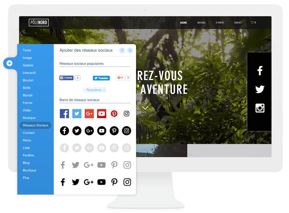Éditeur Wix - insérer les icônes des réseaux sociaux