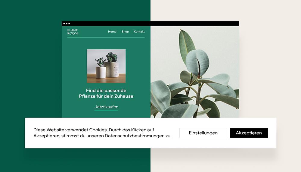 Screenshoot der Website mit Cookie-Banner und Datenschutzerklärung