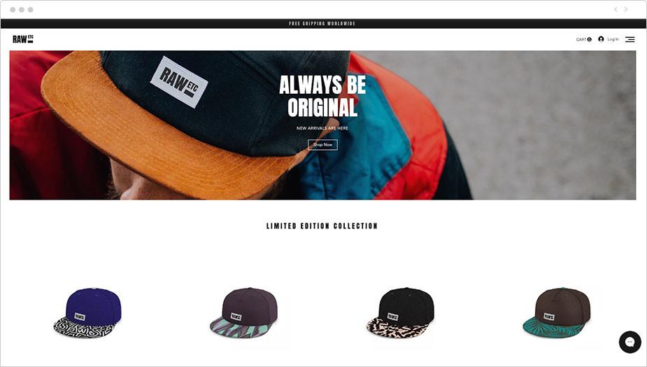 Ejemplo de web de negocio de venta de gorras online