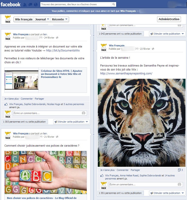 Page Facebook de Wix Français