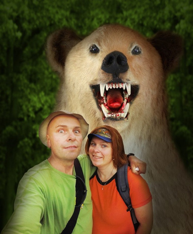 portrait couple avec ours sauvage