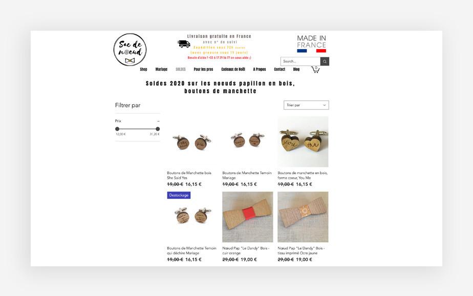 exemple de site internet avec ruban sur les articles
