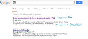 Capture d'écran des résultats de recherche pour le terme Wix