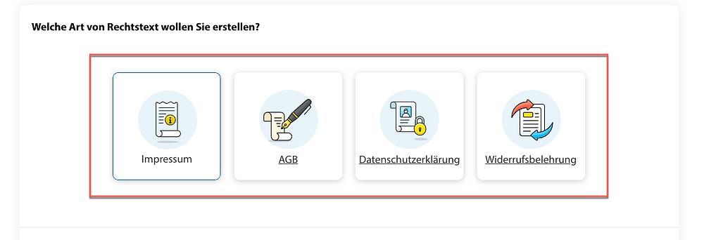 Ansicht der Icons der Rechtstexte, die mit dem Trusted Shops Rechtstexter erstellt werden können: Impressum, AGB, Datenschutzerklärung und Widerrufsbelehrung