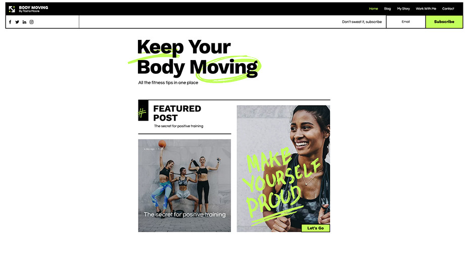 Fitness blog template