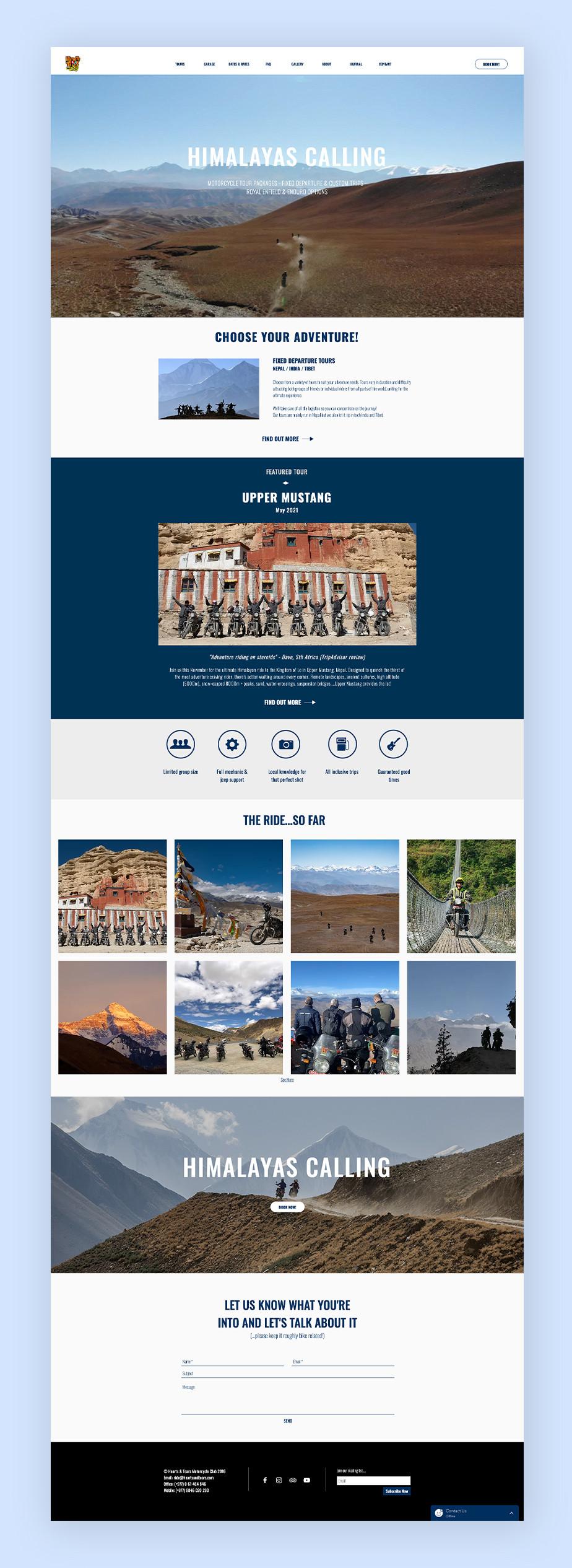 Exemplo de site que utiliza o Wix Bookings: clube de motociclistas Hearts and Tears