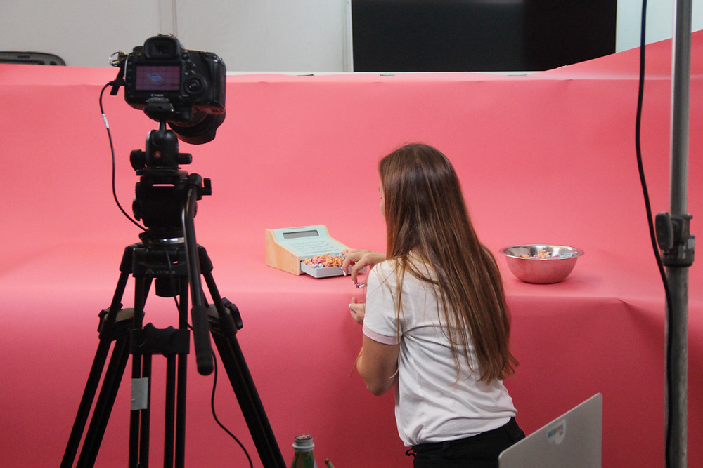 Behind-the-scenes of a product photoshoot.