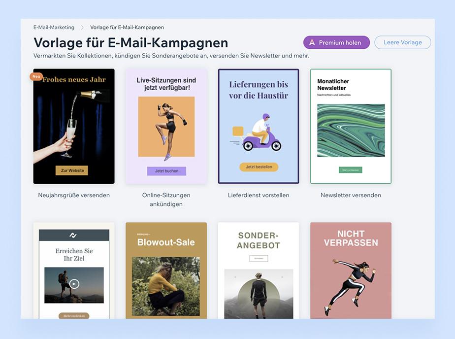 Screenshoot verschiedener Vorlagen für E-Mail-Kampagnen von wix.com