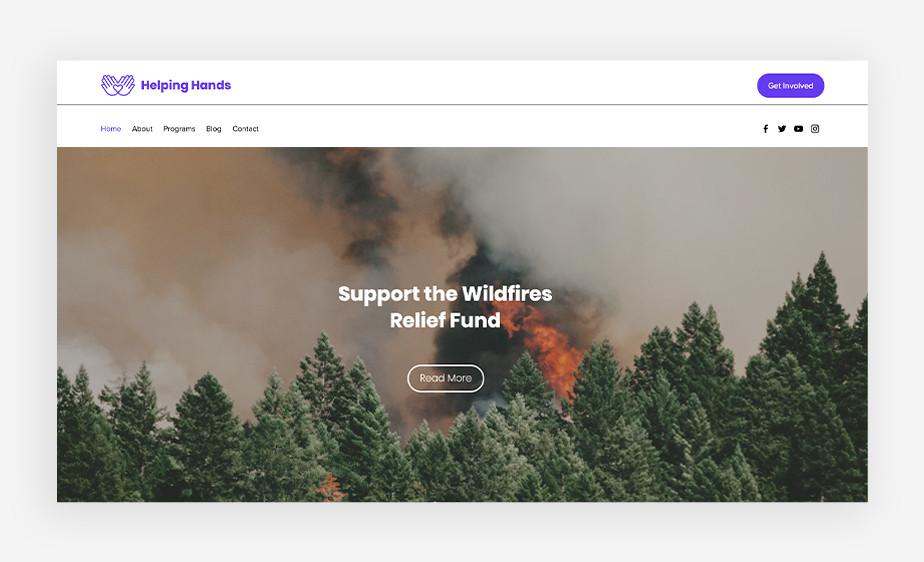 사회적 기업가 정신을 보여주는 헬핑 핸즈의 산불 기금 모음 사이트 페이지의 이미지