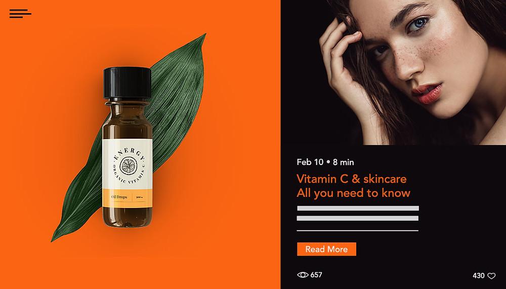 Exemplo de página de blog de cuidados com a pele