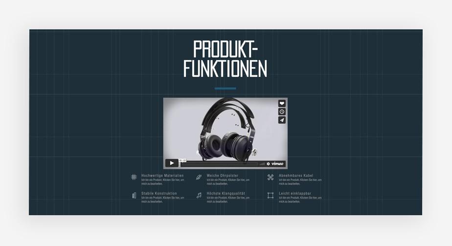 Ansicht der Produktbilder eines eCommerce Templates